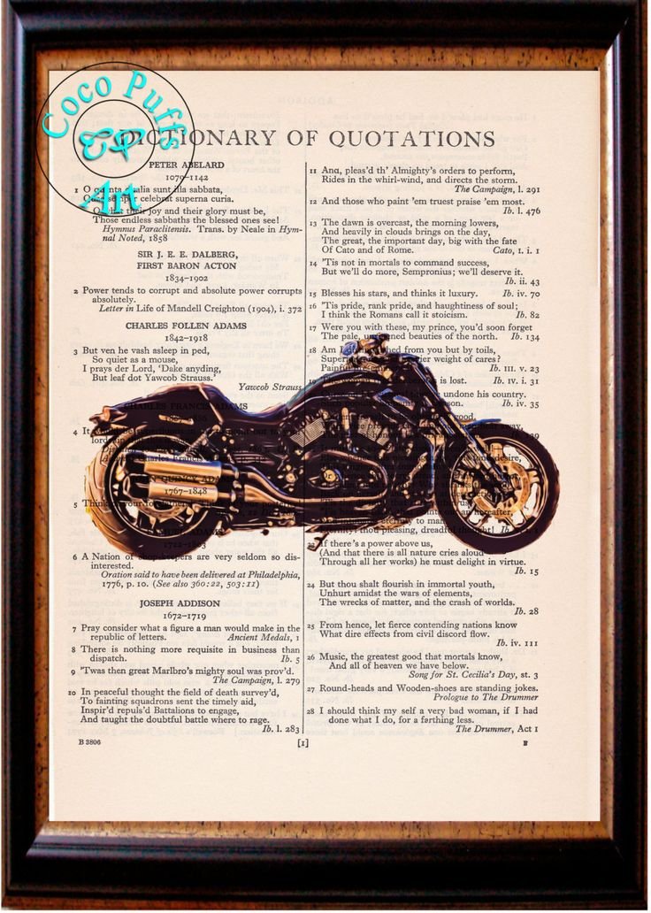 2017 Black V-Rod Night Special HD Motorcycle Altered Art Beautifully Upcycled Vintage Dictionary Page Book Art Print by CocoPuffsArt on Etsy