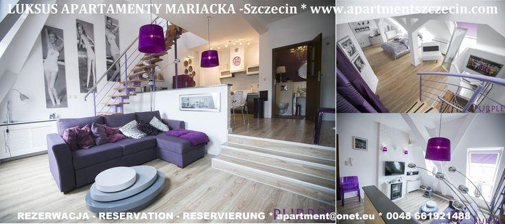 Apartament- PURPLE 3 poziomowy 88 m2 , nowocześnie urządzony , w bardzo wysokim standardzie w najlepszym miejscu Szczecina w centrum na starym mieście w bardzo spokojnej ulicy . Rezerwacja / Reservierung / Reservation: : www.apartmentszcz... e-mail: apartment@onet.eu Tel. + 48 661921 488