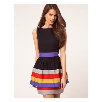 Peplum Dress with Ribbon Trim by ASOS Collection