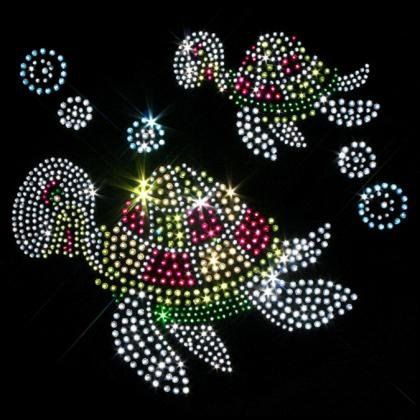 Gorgeous Green and Pink Turtle Twosome Rhinestone Transfer -   Green Turtle Bling Transfer
