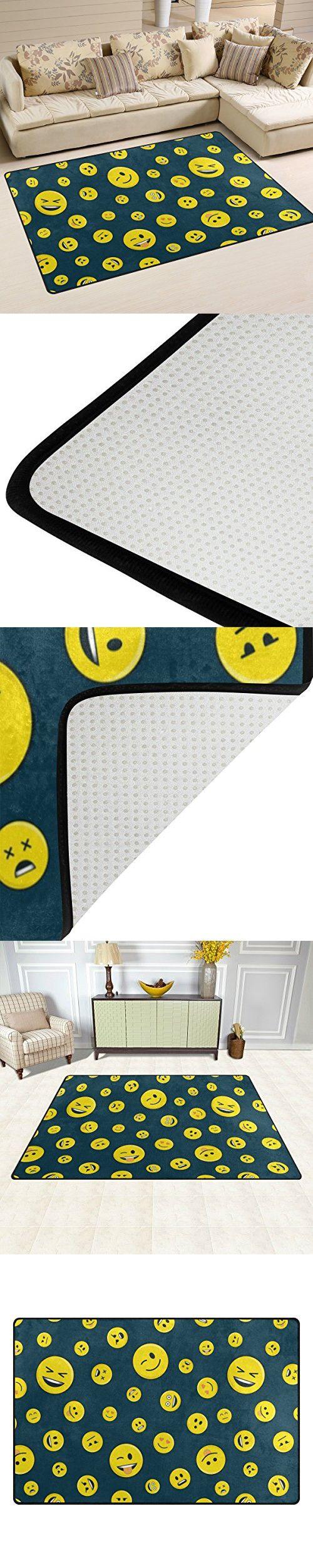 Yochoice Non-slip Area Rugs Home Decor, Hipster Funny Cute Smiley Emoji Emoticon Face Floor Mat Living Room Bedroom Carpets Doormats 60 x 39 inches