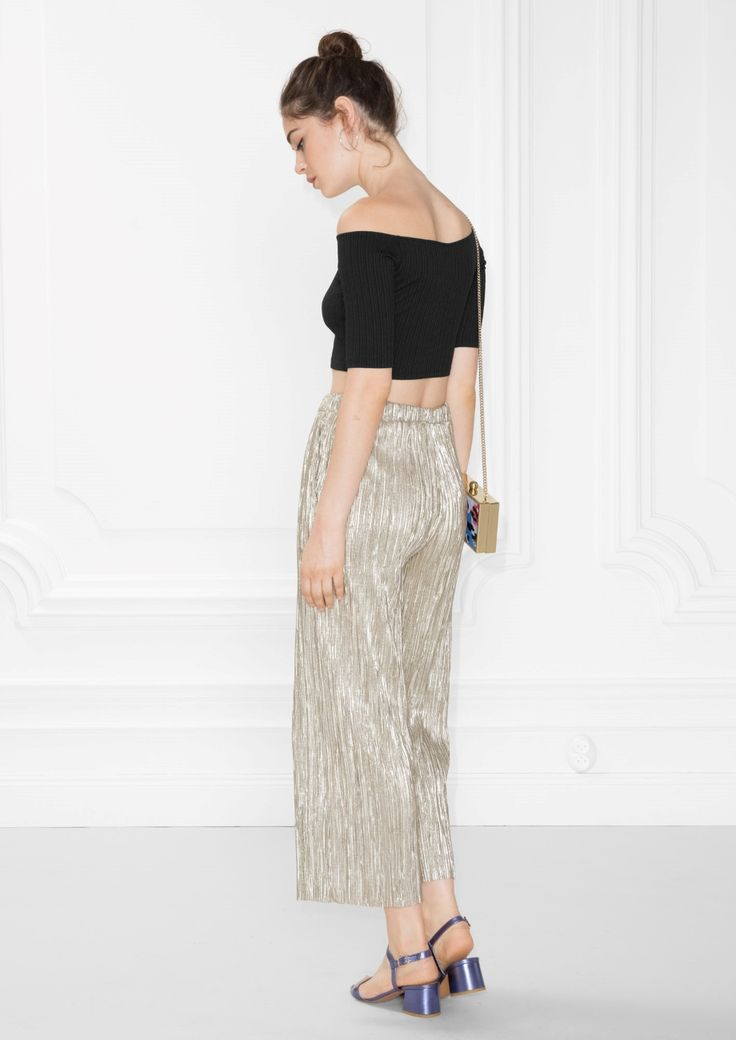 & Other Stories image 3 of Pleated Metallic Trousers in Gold