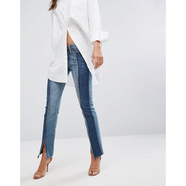 Blank NYC Split Seam Skinny Jean ($111) ❤ liked on Polyvore featuring jeans, blue, destroyed skinny jeans, skinny jeans, skinny boyfriend jeans, distressed boyfriend jeans and super skinny jeans