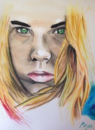 Woman's face. Serious face expression. Watercolor/aquarell painting. Facebook page: https://www.facebook.com/pages/Mirjams-Art/152757271491447?ref=bookmarks