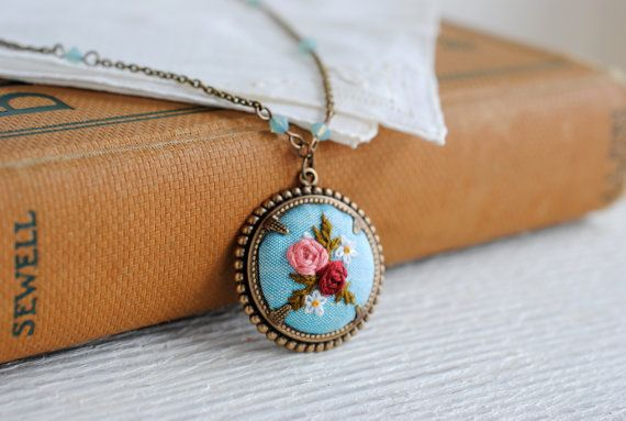 Cameo Necklace Vintage Inspired hand embroidered aqua by stoastn