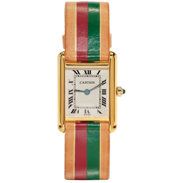 laCalifornienne Red and Green Small Cartier Tank Watch featuring polyvore women's fashion jewelry watches red green jewelry red wrist watch 14 karat gold jewelry roman numeral jewelry quartz movement watches