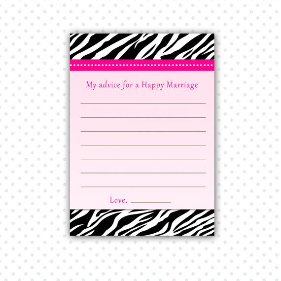 INSTANT DOWNLOAD Zebra Pink Bridal Shower Advice Cards - Advice For Happy Marriage Bridal Shower Favors Wedding Favors Bridal Shower Items
