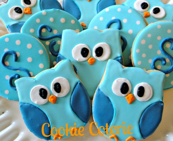 Owl Decorated Cookie Favors Birthday Party Baby by CookieCoterie, $26.00