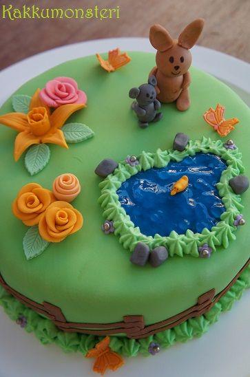 Kakkumonsteri: Keväinen synttärikakku (gluteeniton, munaton, maidoton)