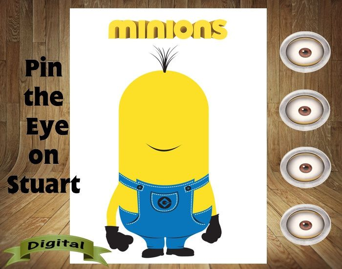 Minion Game, Minion Birthday, Minion Favor, Minion Party, Pin the Eye on Stuart, Minion Fun, Minion Pin Game by DigitalDelites on Etsy https://www.etsy.com/listing/268304531/minion-game-minion-birthday-minion-favor