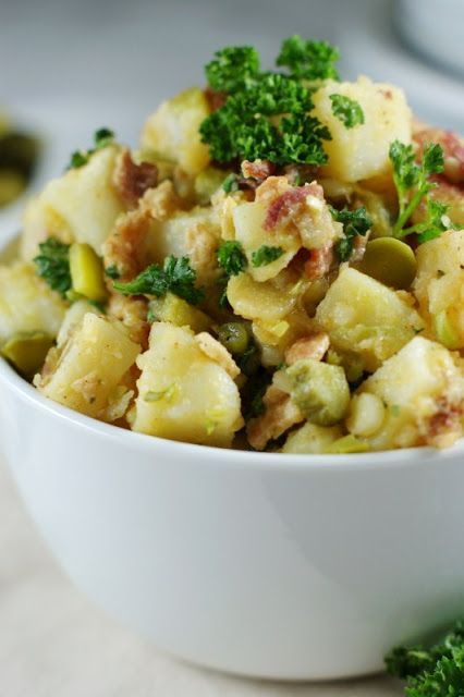 German Potato Salad with Bacon and Dill Pickle