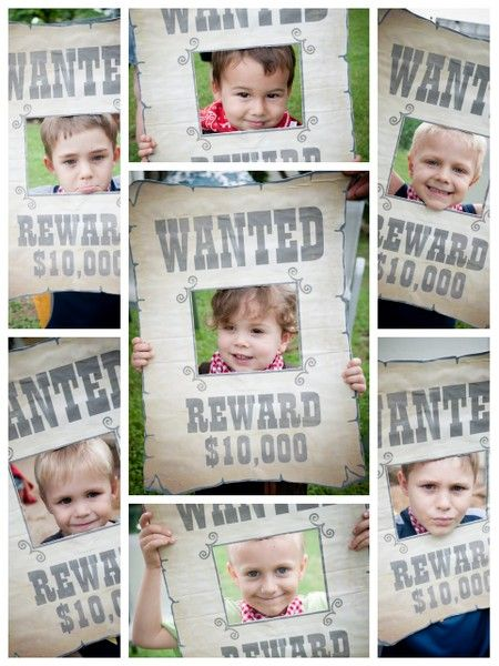 "free printable wild west ""wanted"" poster for a cowboy birthday party - cute photo idea."