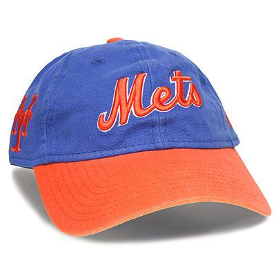 new york mets cap logo font capacity era royal orange team canvas adjustable hat amazon