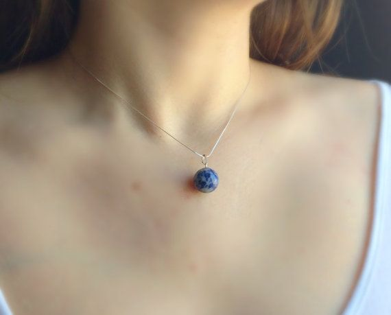 Sodalite necklace Round Ball Pendant Sterling by DanusHandmade