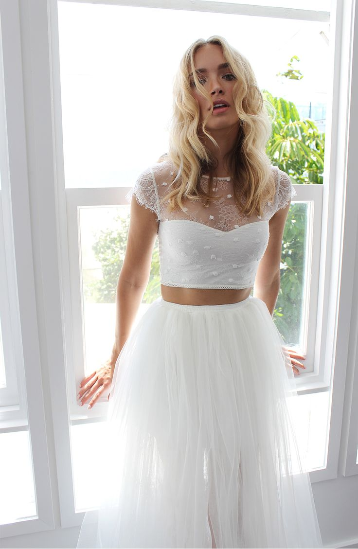 A gorgeous ivory two-piece wedding dress made from Italian tulle and stretch French lace. Handmade in Australia for the modern, unique bride. (Top Ideas Bridal Shower)