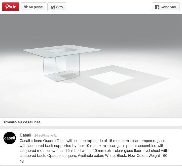 Casali Tavolo in vetro, laccato, modello Icaro quadrato