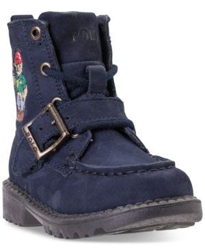 Polo Ralph Lauren Toddler Boys\u0027 Ranger High Ii Bear Boots from Finish Line  - NAVY/POLO SWEATER BEAR 10 | Toddler boys, Polo ralph lauren and Polos
