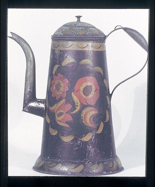 Painted tin coffee pot, ca. 1800-30, Mid-Atlantic (Pennsylvania)
