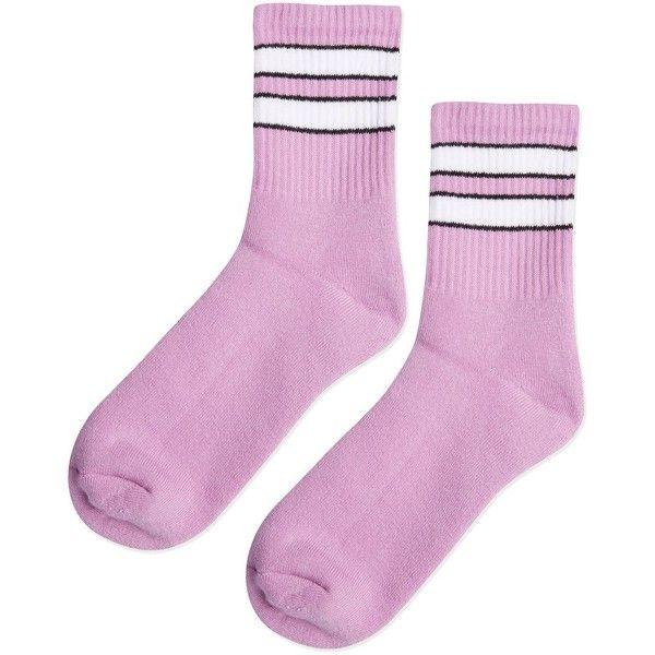 TopShop Purple Sporty Tube Ankle Socks ($4) ❤ liked on Polyvore featuring intimates, hosiery, socks, purple, stripe tube socks, cotton ankle socks, purple striped socks, striped tube socks and striped socks