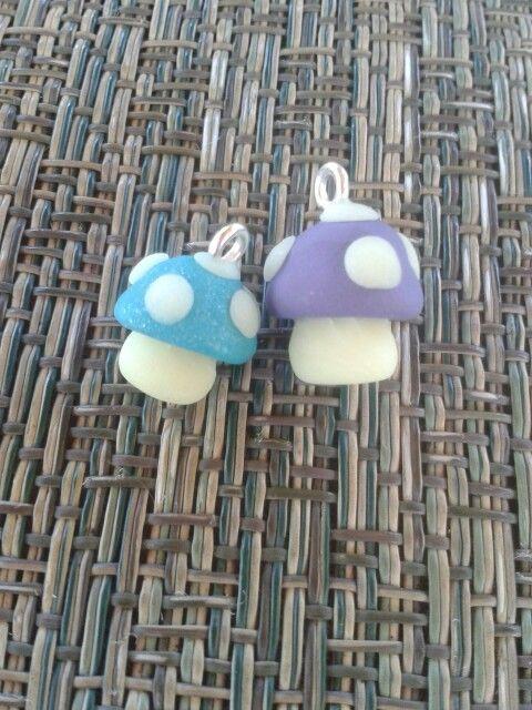 Glow in the dark, purple, and blue mushrooms