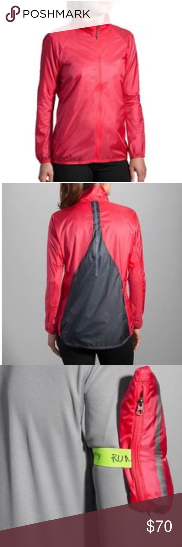 🌸 Brooks LSD Jacket Super lightweight, windproof, water-resistant jacket that can actually pack into itself and be carried hands-free around your arm. You'll get the protection you need, when you need it, complete with a full-zip chin guard and draft flat, plus front and back retro-reflectivity. And when the weather clears, just pack the LSD Jacket away and use the elastic band to comfortably attach it to your arm, no fuss, no muss! XL, loose fit for myself which I enjoy a flow. Worn twice…