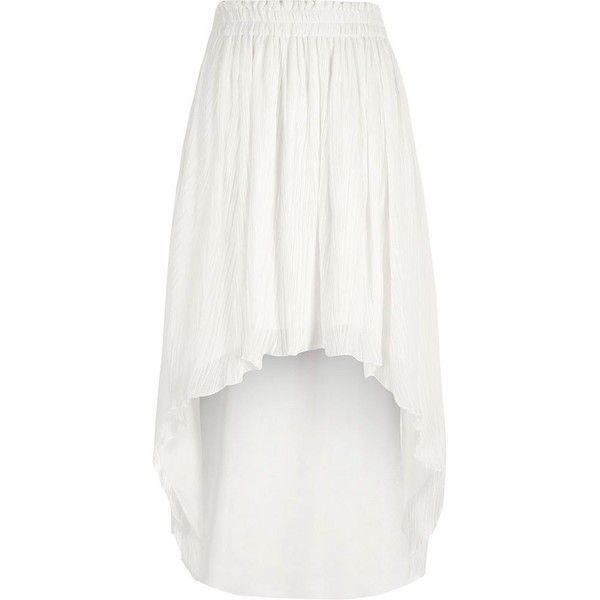 River Island White pleated high-low maxi skirt ($30) ❤ liked on Polyvore featuring skirts, sale, white, women, long skirts, maxi skirts, floor length maxi skirt, long white skirt and white pleated skirts