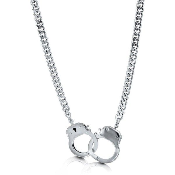 BERRICLE Silver-Tone Handcuffs Fashion Chain Necklace ($25) ❤ liked on Polyvore featuring jewelry, necklaces, accessories, chain necklace, women's accessories, silvertone jewelry, chains jewelry, silver tone jewelry, handcuff jewelry and silver tone necklace