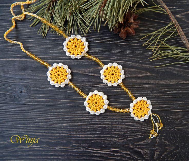Crochet necklace Cotton necklace Crochet jewelry Cotton