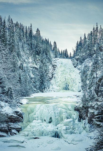 Frozen waterfall ~ Storfossen and Mettifossen falls in Malvik kommune, Norway.