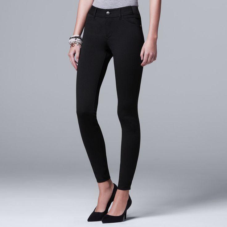 Petite Simply Vera Vera Wang Skinny Ponte Pants, Women's, Size: Pxl Short, Black