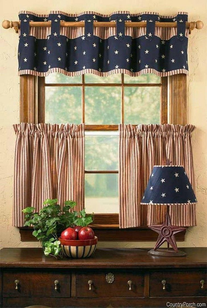 Gorgeous Short Striped Kitchen Curtain Idea As Well Beige Painting Wall Kitchen…
