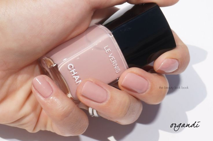 "Chanel Le Vernis: Organdi ... a nude pink nail polish that falls in the neutral-cool category, it's a full coverage color.  A ""Longwear Nail Colour""  - New Formula 2016."