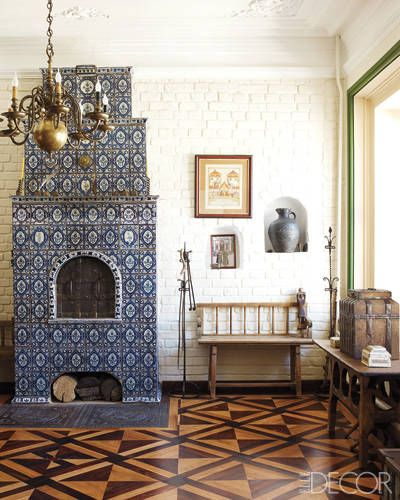classic Russian tiled stove and parquet floors in oak, rosewood, and ebony