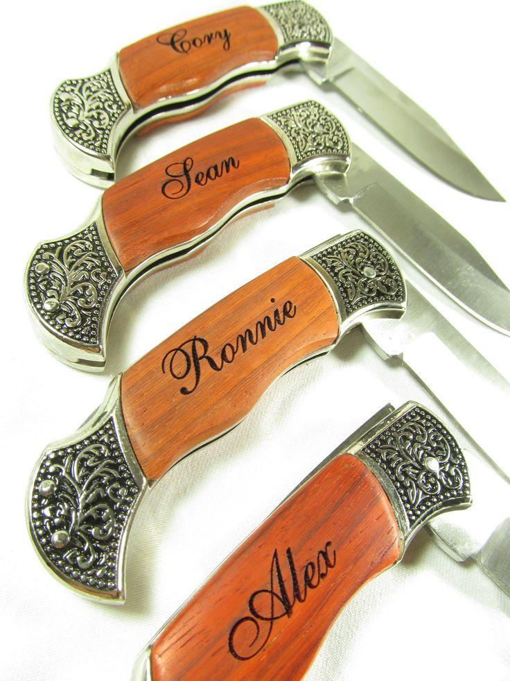 Set of 6 Personalized Engraved Rosewood Handle Pocket Hunting Knife Knives Groomsman Best Man Ring Bearer Gift.