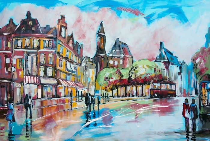 Vrolijk schilderij stadsgezichten schilderijen van stadsgezichten paintings of cityscapes - Schilderij trap ...