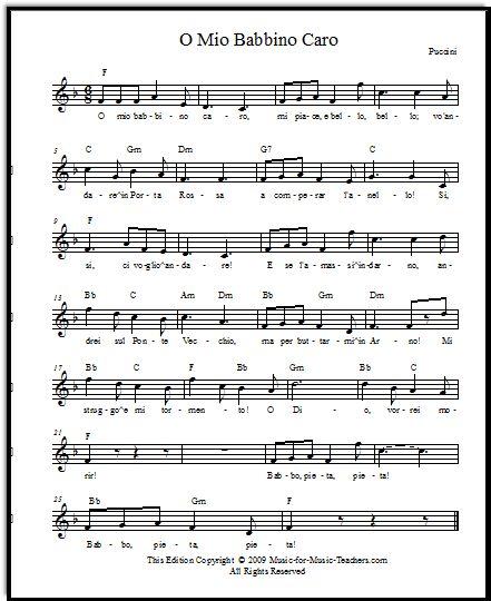 O Mio Babbino Caro By Puccini, Free Lead Sheets And Also