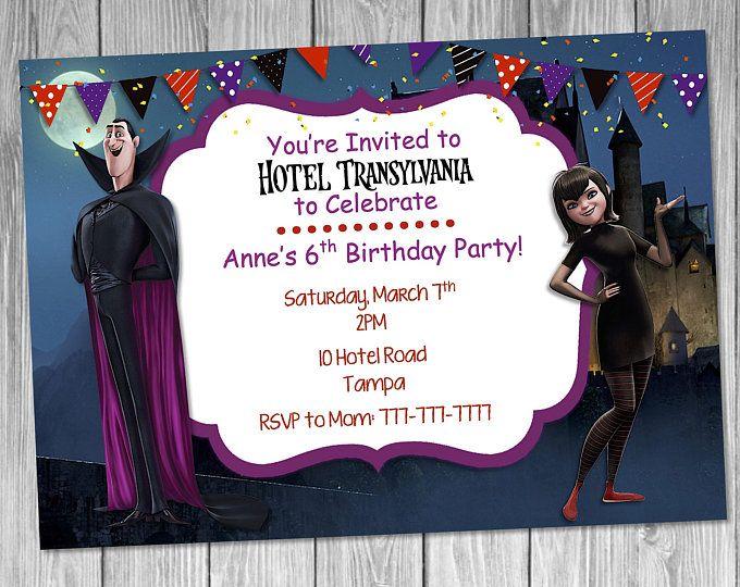 Hotel Transylvania Birthday Invitation Cumpleaños Hotel