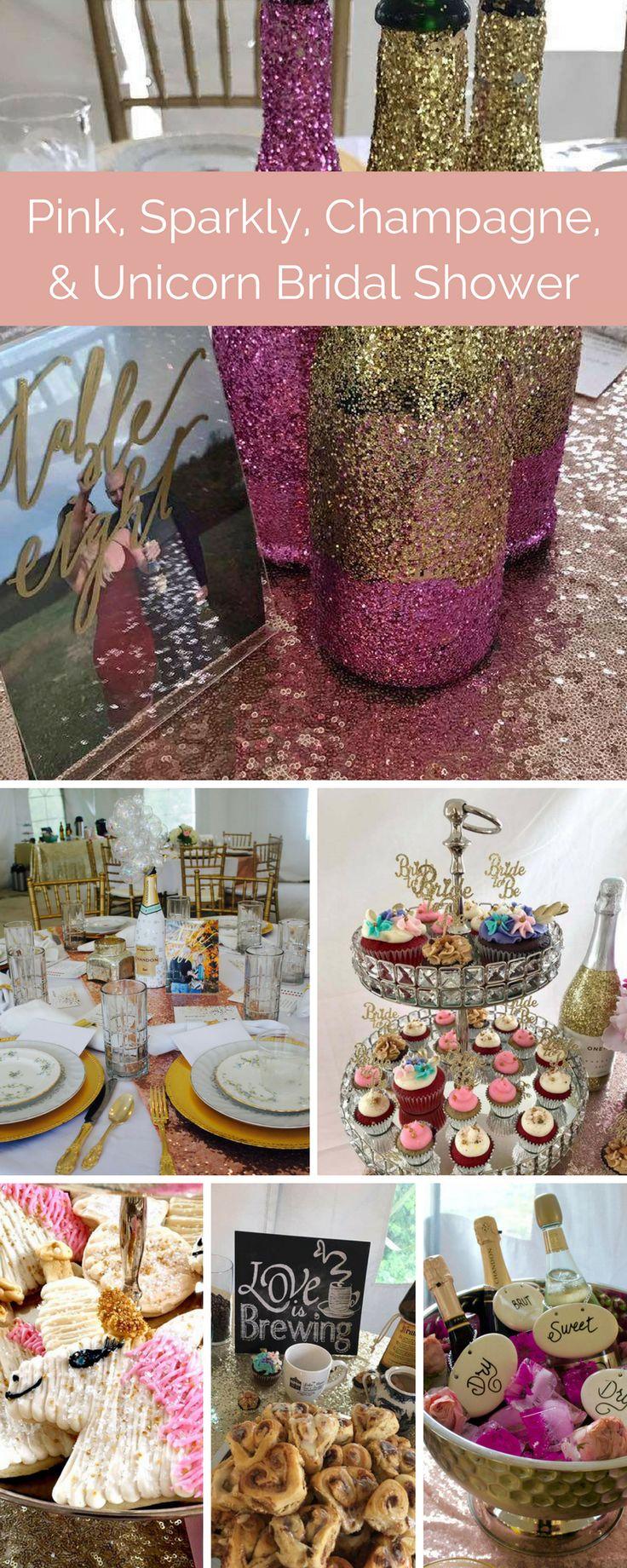 Pink, Sparkly, Champagne, Unicorn Bridal Shower.