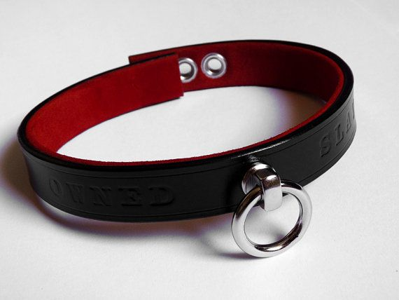 BDSM Leather Collar Choker Owned Slave by CraftCreateCR on Etsy