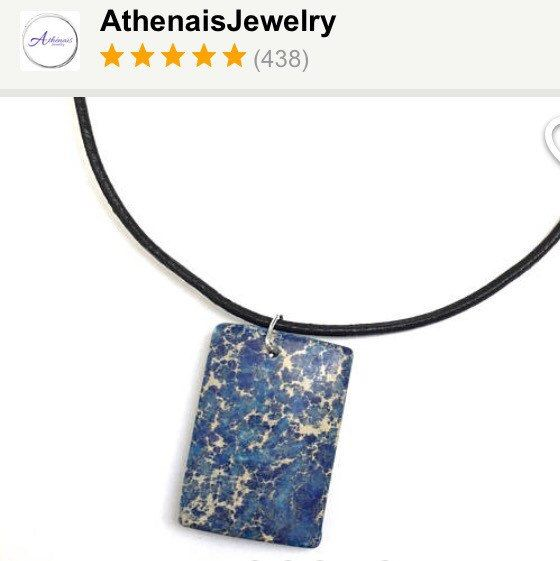 One-Of-a-Kind natural gemstone pendant on adjustable leather necklace! Wear it as a choker, a collar necklace or long necklace ..  Only one available!