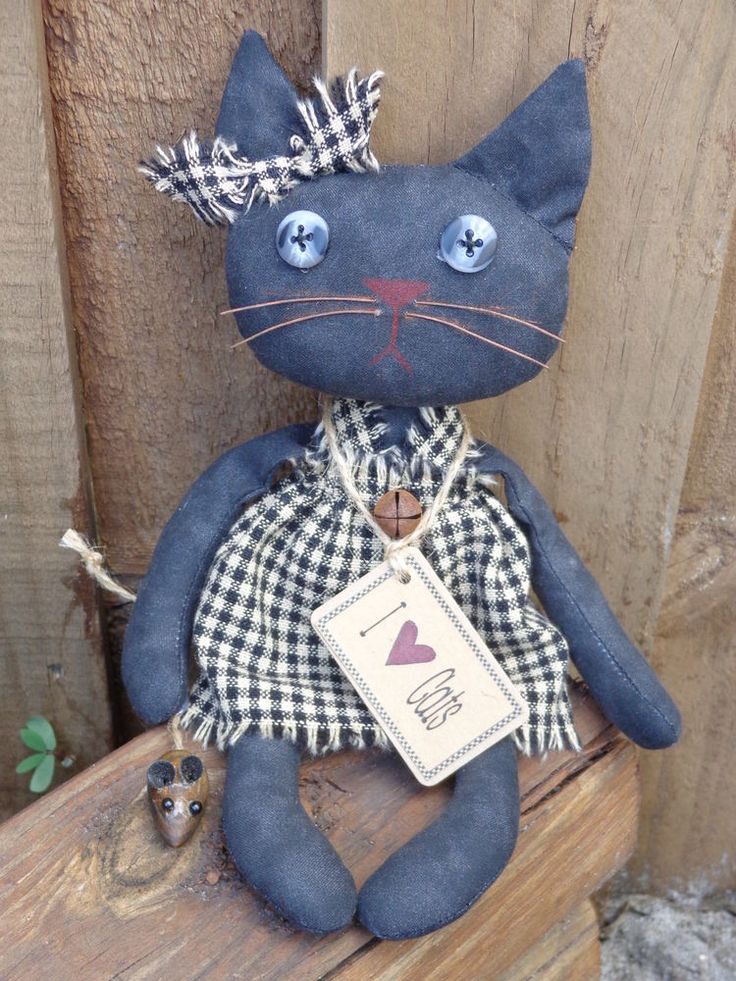 Primitive Country Grungy Black Cat Doll Wood Mouse Homespun Rusty Bell Prim Tag
