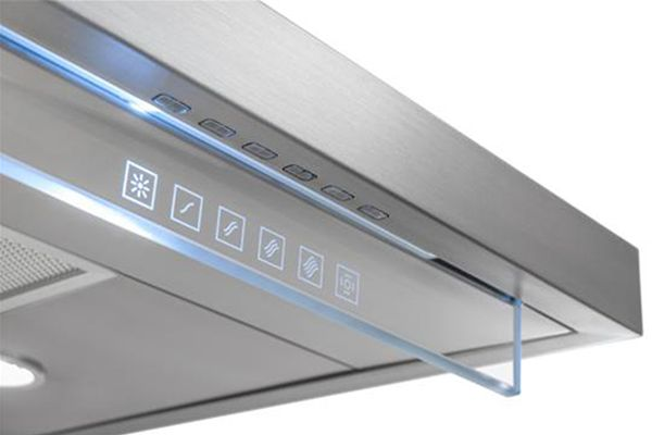 Harmonia, Best Range Hood Stainless steel and glass come together in Harmonia, a chimney-venting range hood whose minimalist design and touch-free control panel suit it for open-plan spaces. The four-speed, electronic, infrared heat-sensing unit uses the company's blower system to remove heat and odor. The control dashboard senses the location of a user's finger without requiring direct contact.