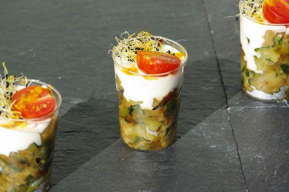 Caviar de courgettes et sa crème de parmesan.