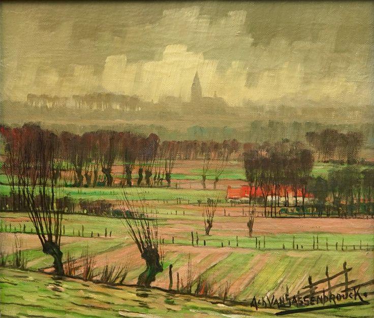 Живопись маслом. Achiel Van Sassenbrouck (1886-1979), Vue sur la campagne, Tielt.