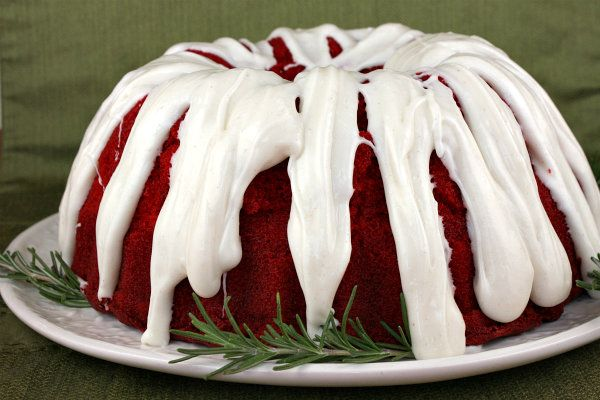Recipe for Red Velvet Bundt Cake with Cinnamon Cream Cheese Glaze. Photograph included.