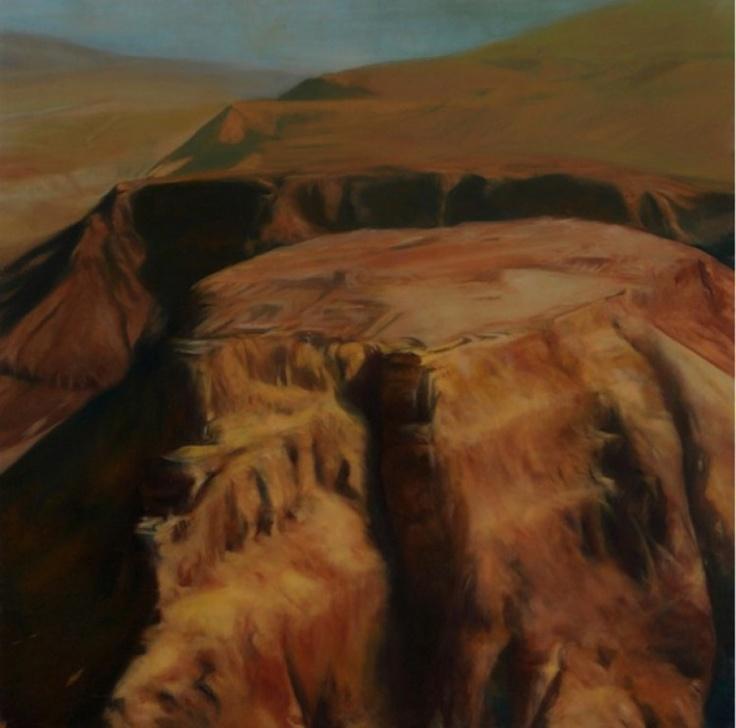 """Francesco Parisi, """"Masada"""", oil on canvas, 2011, cm 100x100"""