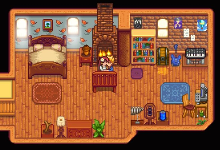 Sharing A Smooch In Front Of A Cozy Fire Stardew Valley House Interior Decoration Design Layout Ho Stardew Valley Stardew Valley Layout Stardew Valley Tips