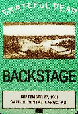 Grateful Dead Backstage Pass 9/27/1981 Capital Centre Landover Maryland Md