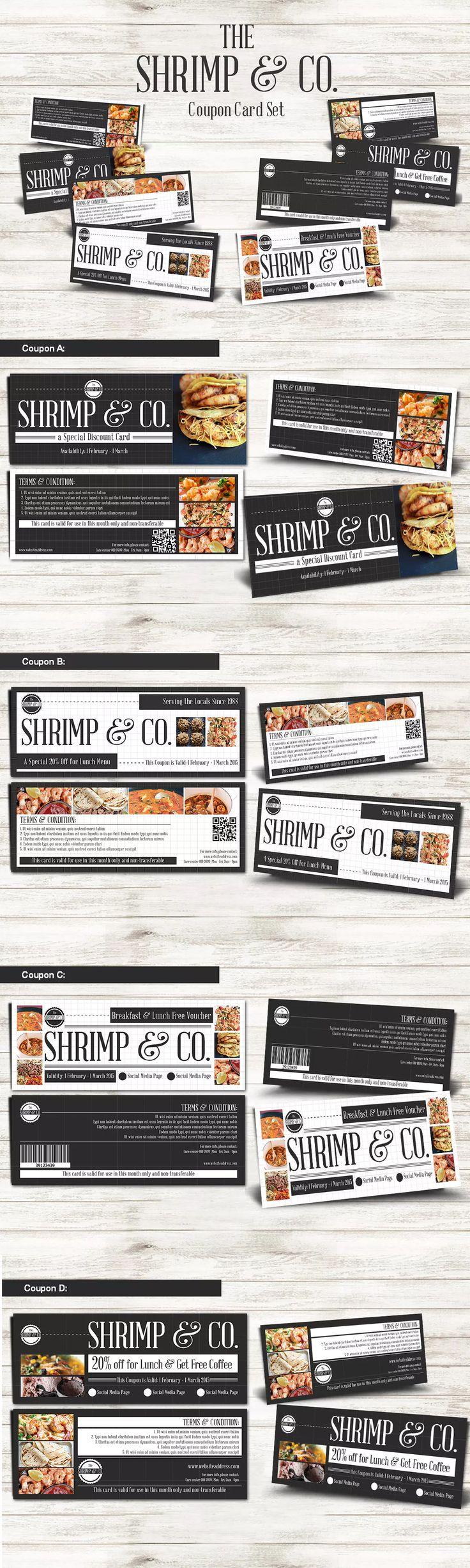 Seafood Restaurant Coupon Card Template PSD