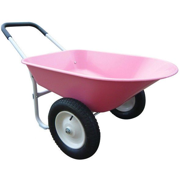 Pink Wheelbarrow Cart Wagon Steel Garden Utility 2 Wheel Barrow Yard Lawn Tool #Marathon